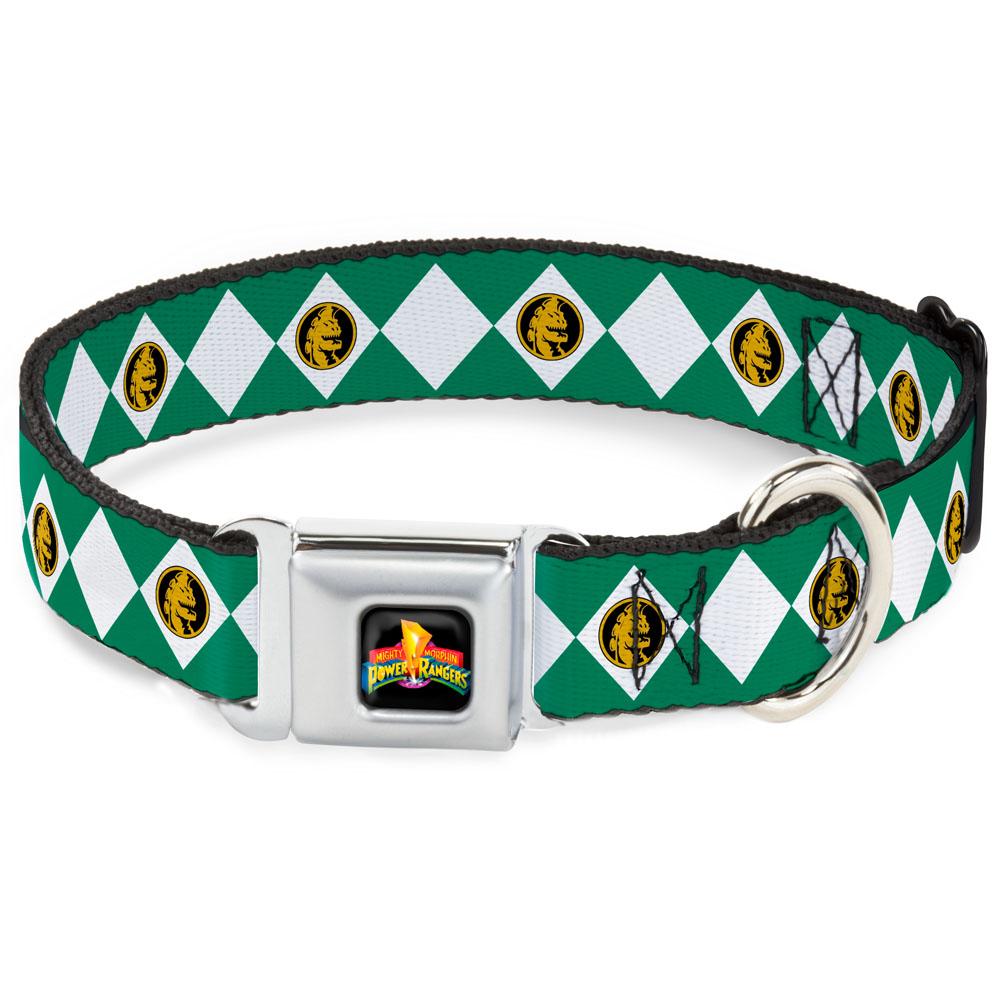 Dog Collar PRA-Power Rangers Logo Full Color - Diamond Green Ranger - Large Pet Collar