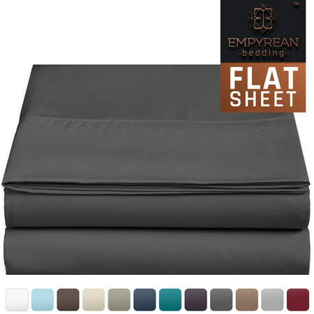 "Ralph Lauren Queen Flat Sheet - Empyrean Bedding Premium Flat Sheet – ""110 GSM"" Double Brushed Microfiber Extra Thick and Comfortable Flat Sheets, Luxurious & Soft Hotel Single Top Bed Sheet Hypoallergenic, Queen, Charcoal Gray"