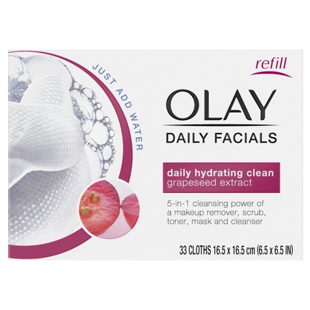 Olay Daily Facial Hydrating Cleansing Cloths w/ Grapeseed Extract, Makeup Remover, 33 Count ()
