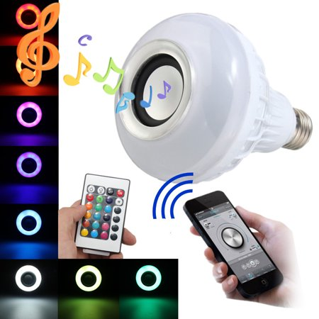 Kingso bluetooth 4.0 LED Music Bulb 2IN1 E27 12W LED RGB Color Music Speaker Smart Light Bulb Smartphone Remote Control Atmosphere Home Stage Wedding Party Light (Sharper Image Bluetooth Smart Bulb Si 05)