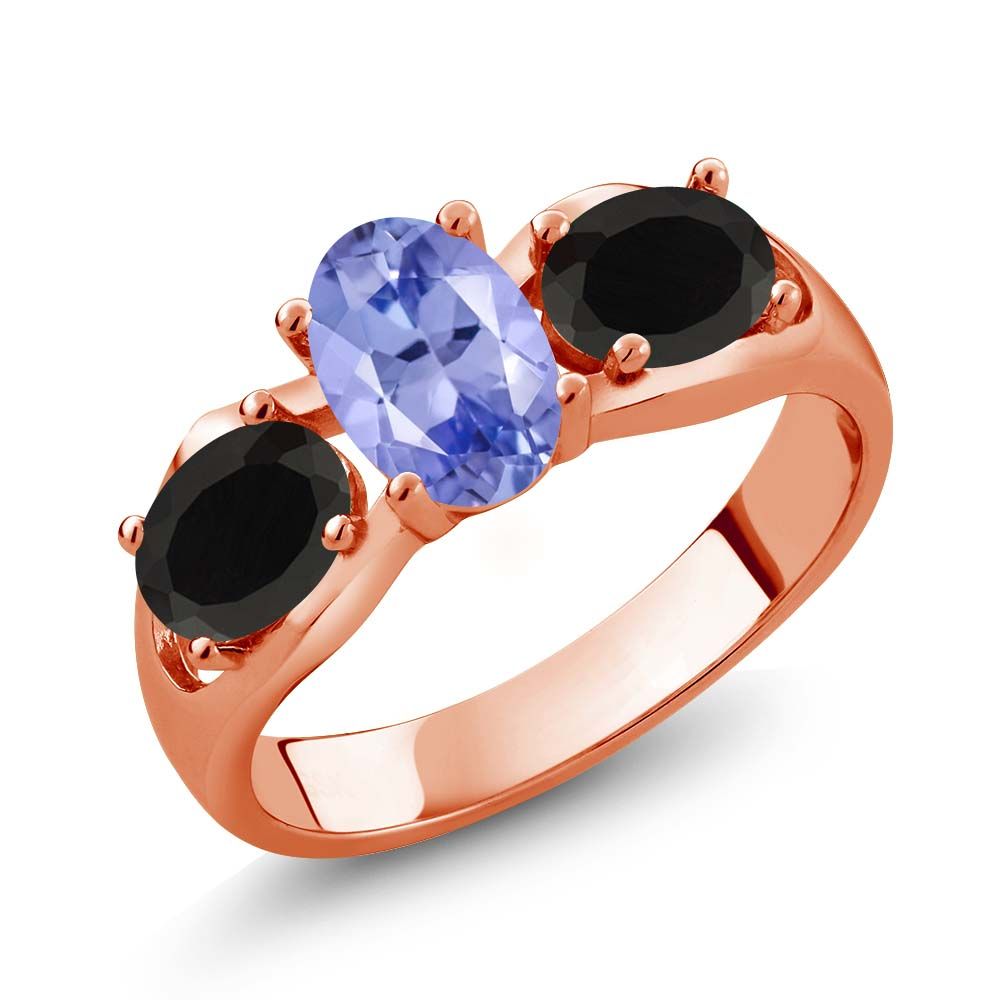 1.53 Ct Oval Blue Tanzanite Black Onyx 18K Rose Gold Ring