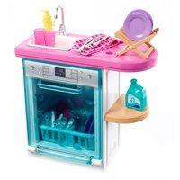 Barbie Indoor Furniture Set with Kitchen Dishwasher & Accessories