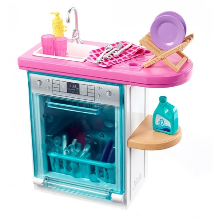 Barbie Indoor Furniture Set with Kitchen Dishwasher &