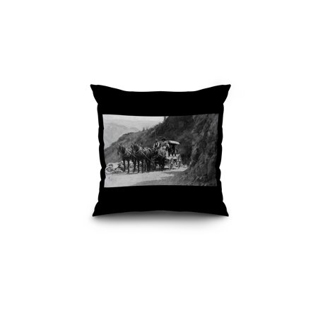 Lake Chelan, Washington - View of Stagecoach Cape Horn Near Chelan Canyon (16x16 Spun Polyester Pillow, Black - Near Cape Horn
