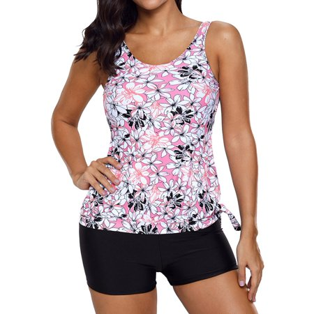 Nlife Women's Floral Print Ruched Side 2 Pieces Tankini Swimsuit (2piece Tankini)