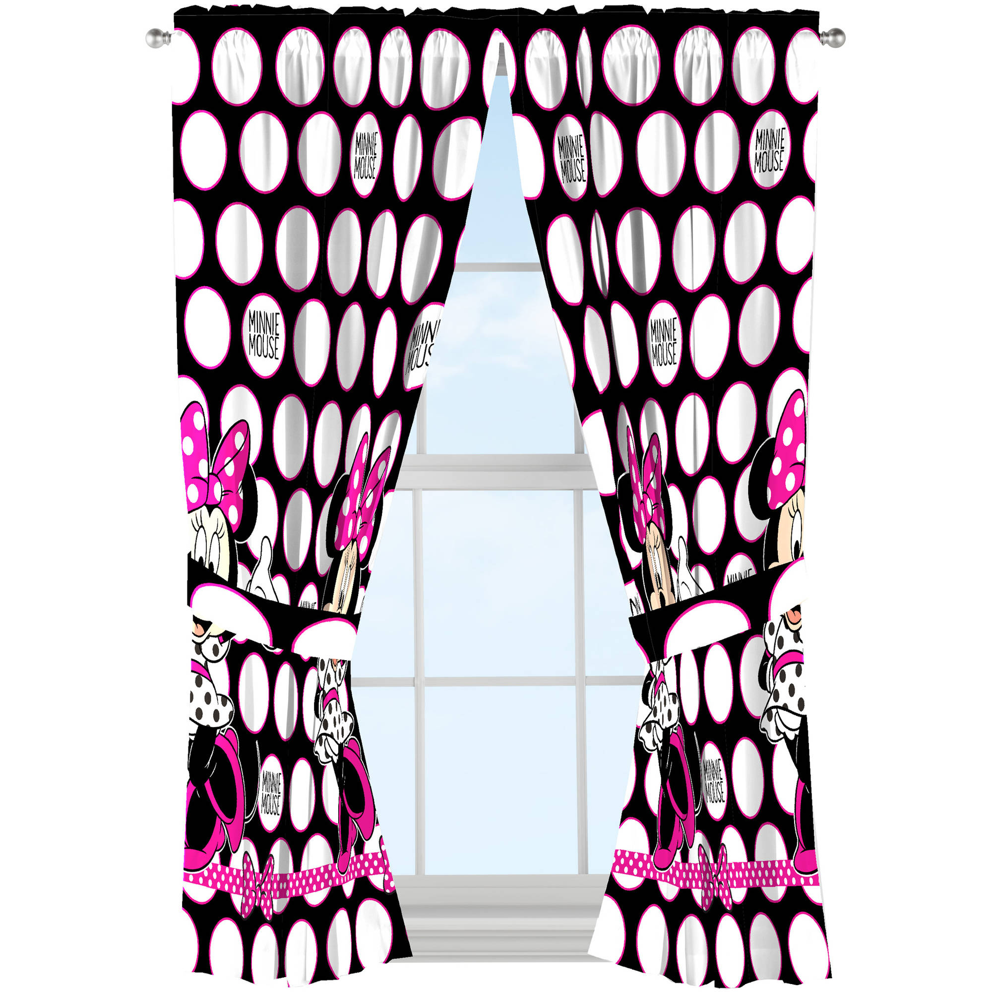 Disney Minnie Mouse Dots are the New Black Drapes, Set of 2