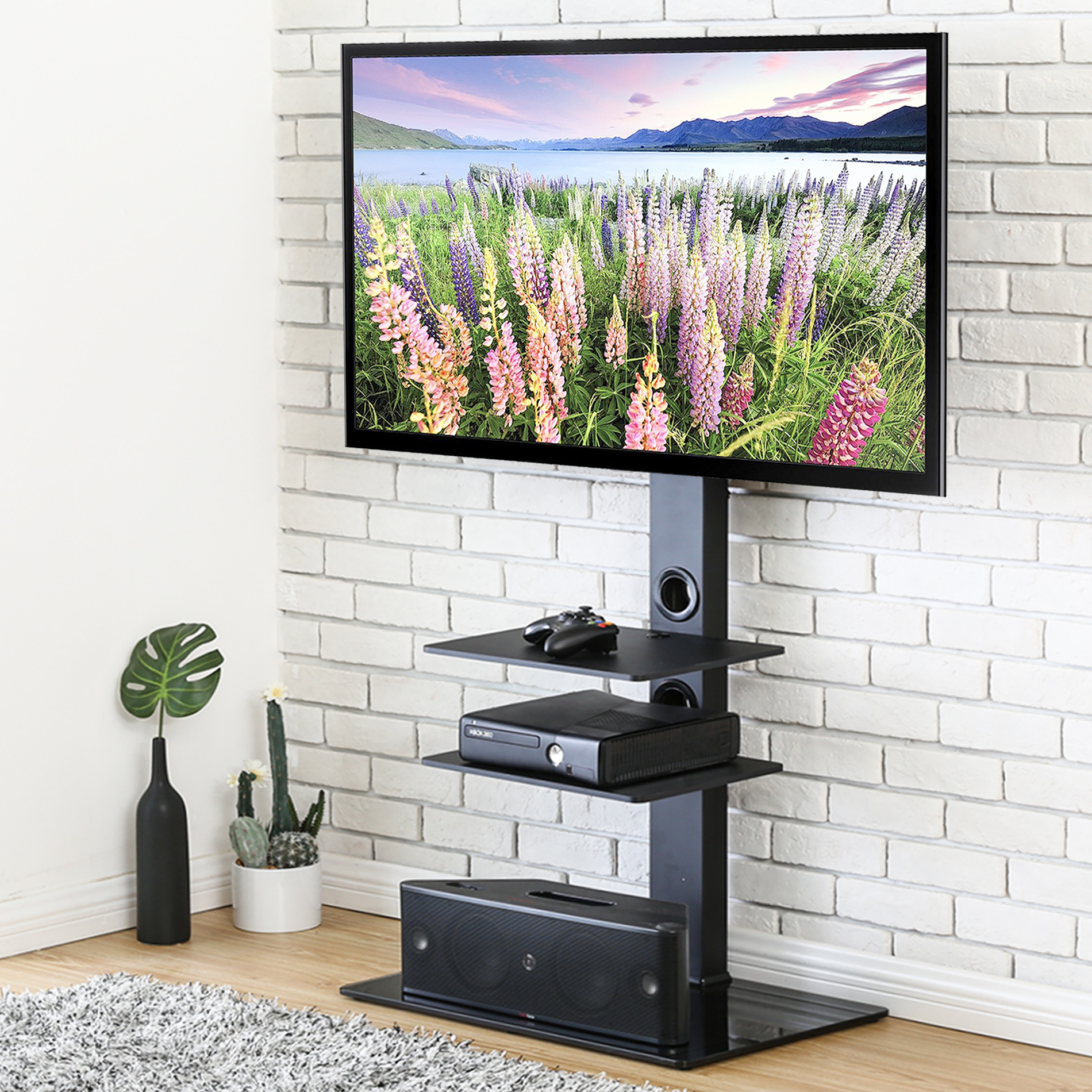 FITUEYES TV stand with mount - Universal Floor Swivel Tv base with Shelf for up to 65 inch Samsung TCL Apple Vizio TV TT307001MB