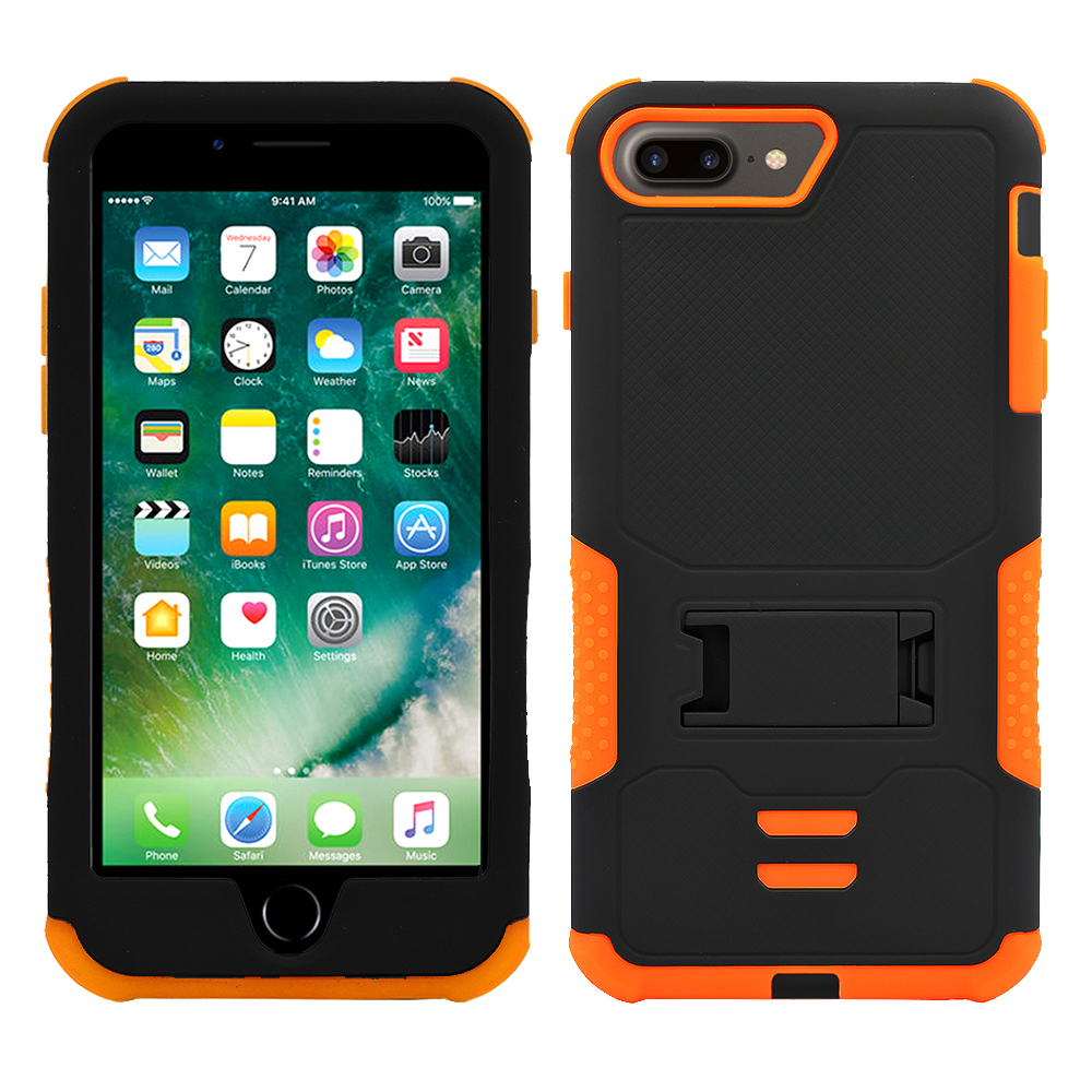 For IPhone 8 Plus / IPhone 7 Plus Impact Shockproof Rugged Silicone Case Dual Layer with Stand