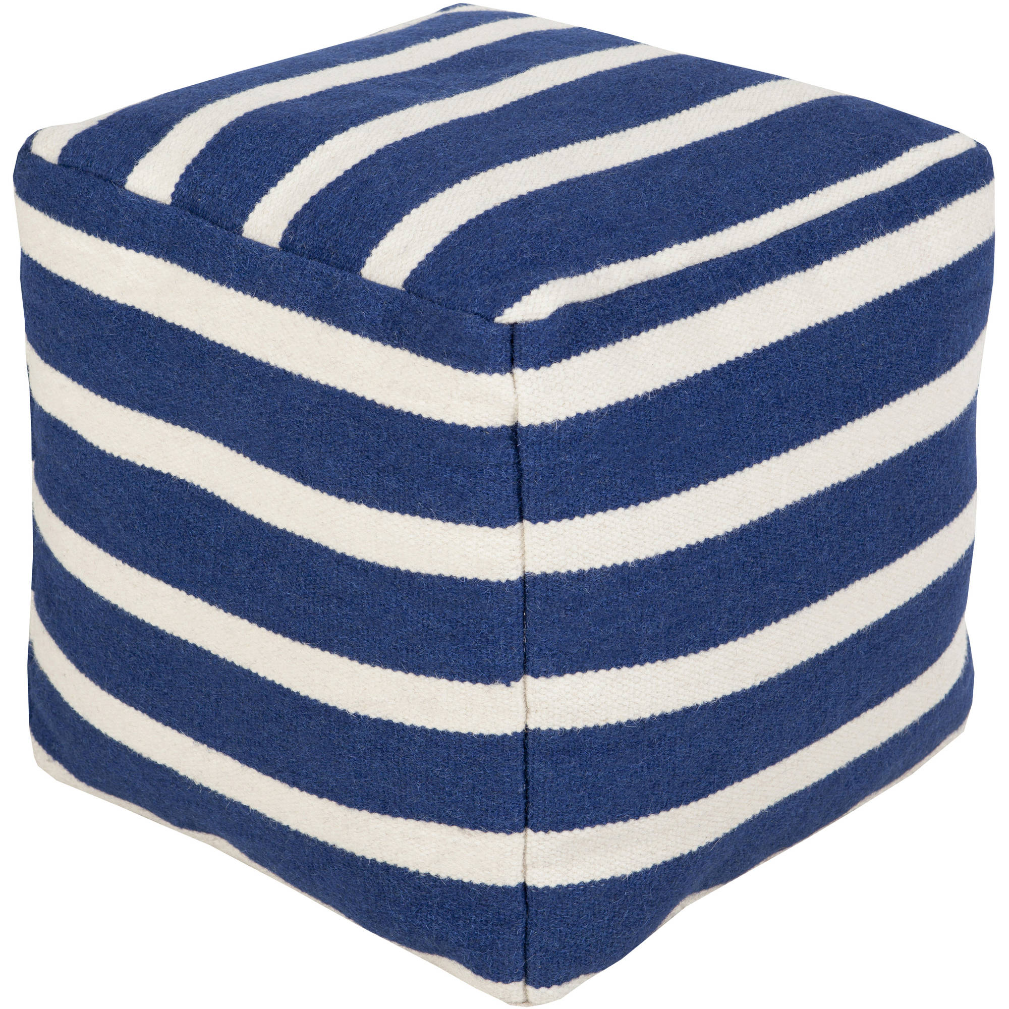 Art of Knot Davenport Hand Made Striking Stripe Wool Pouf, Blue
