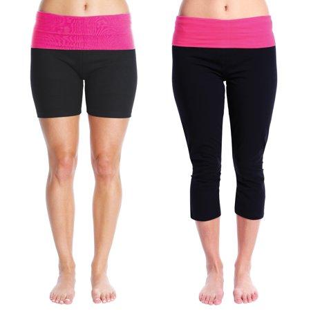 e611fcab8984c Nouveau Women's Workout Active Capri Yoga Pants & Short Combo - Ladies  Casual Loungewear - Hot Pink Yoga Set, Large