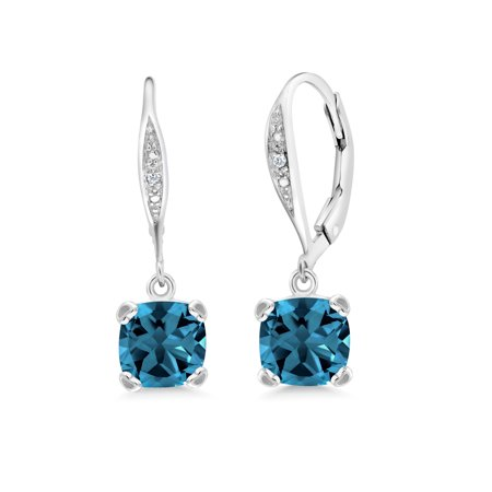 Blue Diamond Journey Earrings (3.71 Ct Cushion London Blue Topaz White Diamond 925 Sterling Silver Earrings )