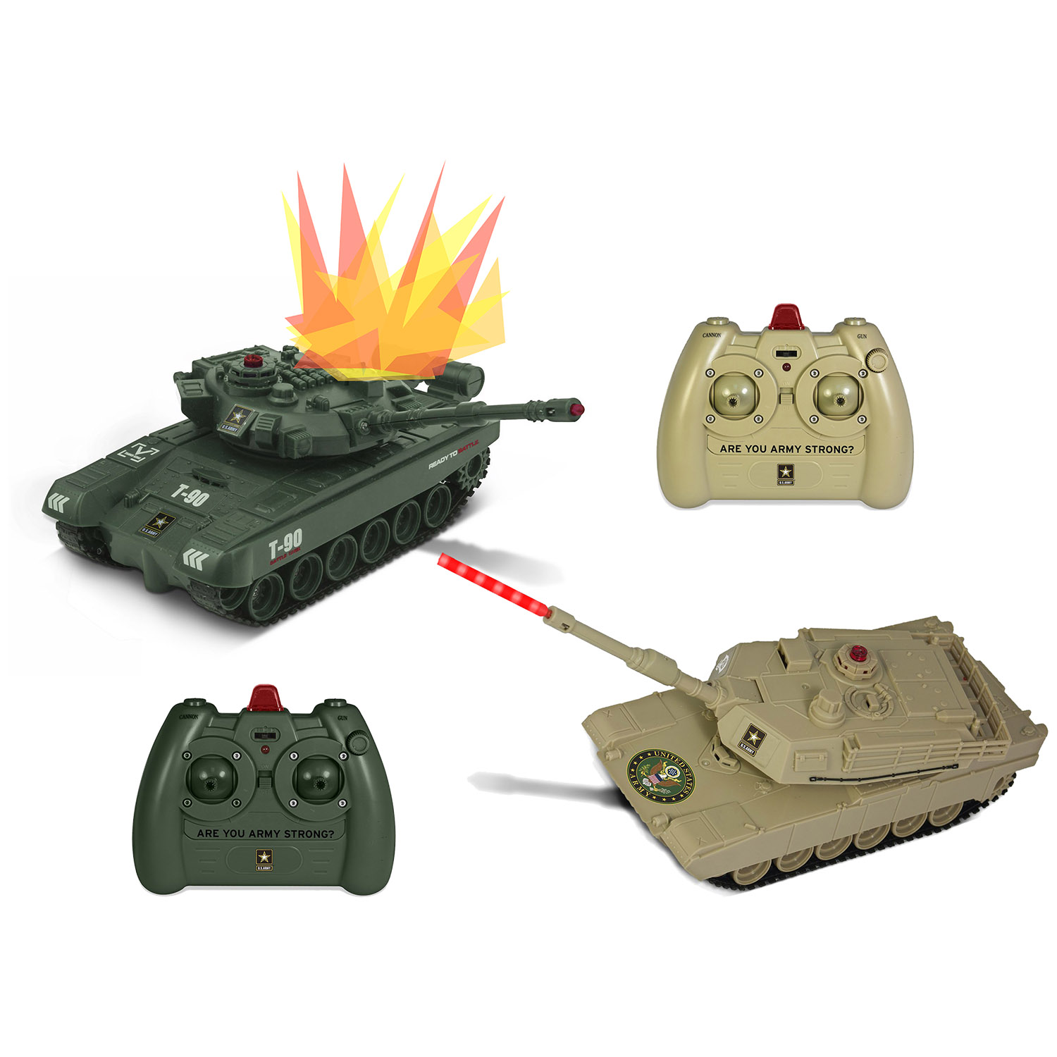 US Army Dual Force Laser RC Battle Tanks Remote Control Ready to Fight Set