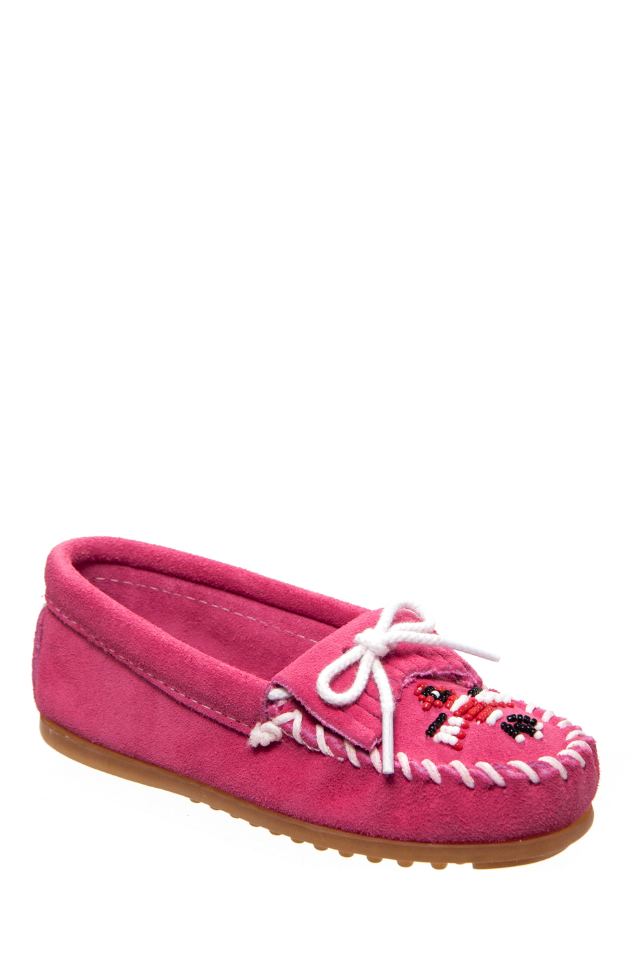 Minnetonka Kids' Thunderbird II Moccasin Pink   Embroidery by