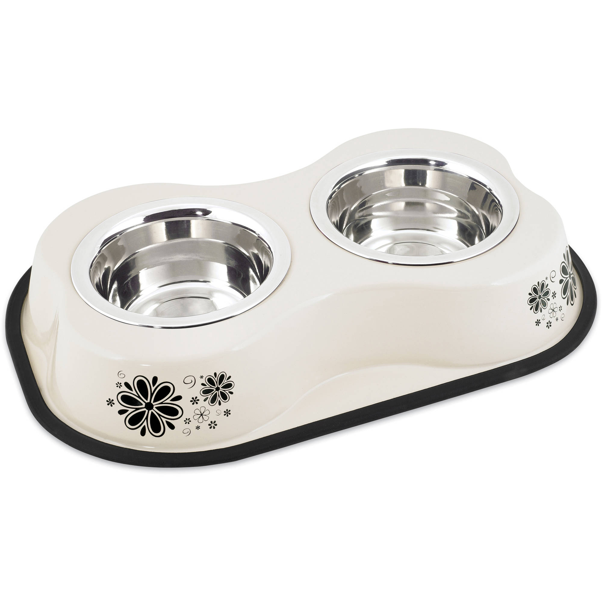 Bone Shaped Double Diner W/2 1pt Stainless Steel Bowls, Flower Pattern Ivory
