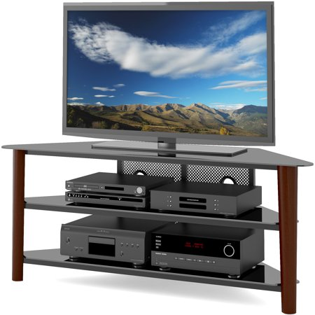 CorLiving Alturas Wood Veneer TV Stand for TVs up to 68″