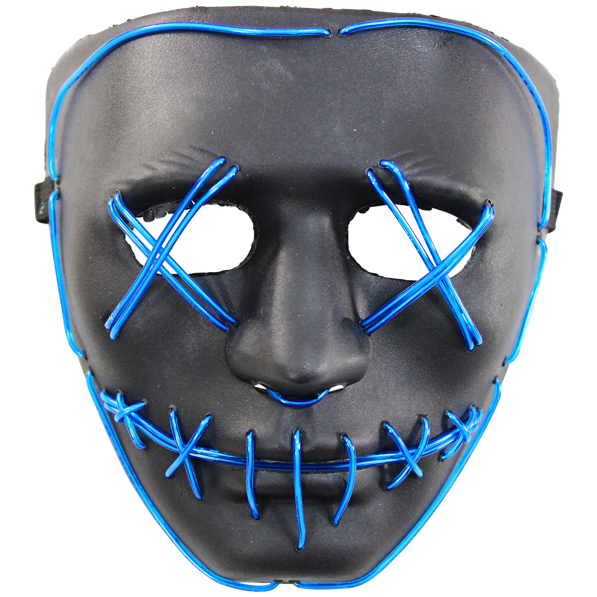Rolling Lit LED Light Scary Undead Zombie Skull Mask - Royal Blue