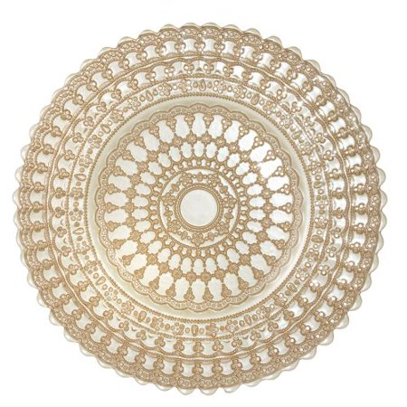 Leeber Rose Gold/White Lace Chargers, Set of - Rose Gold Charger Plate