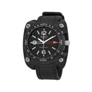 Nautica Men's Black Dial Black Leather Watch A28500G