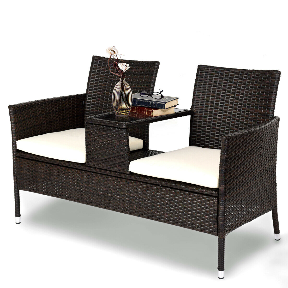 Gymax Loveseat Sofa Table Chairs Cushioned Patio Rattan Seat