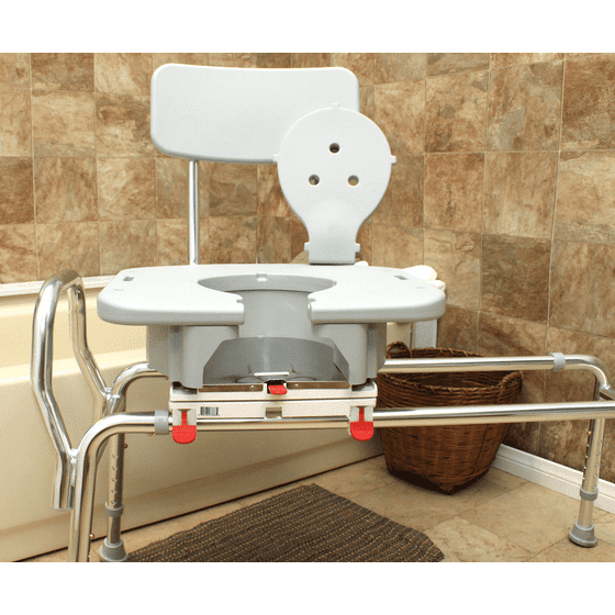 Swivel Sliding Bath Transfer Bench w/Replaceable Cut-Out Seat (77663 ...