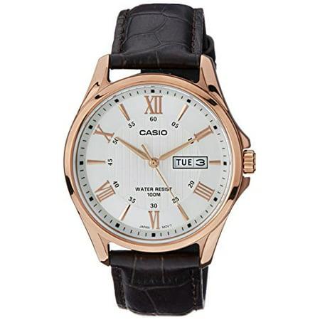 MTP1384L-7AV Men's Rose Tone Leather Date Roman Silver Dial Watch