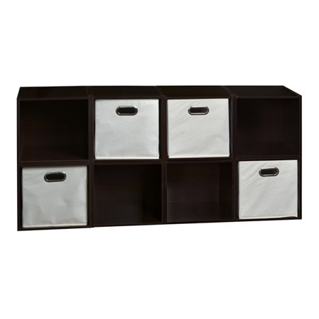 Regency Niche Cubo Storage Set of 8 Cubes, Warm Cherry and 4 Canvas Bins, Multiple Colors
