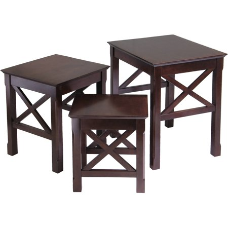 Art Deco Nesting Tables - Winsome Wood Xola 3-Piece X Panels Nesting Table Set, Cappuccino