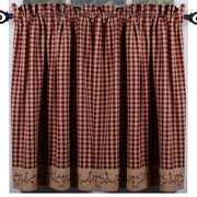 Berry Vine Check Curtain Tiers - Barn Red