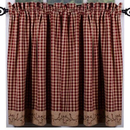 Berry Vine Check Curtain Tiers - Barn (Berry Curtain)