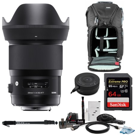 Sigma 28mm f/1 4 DG HSM Art Lens for Nikon F with USB Dock and 64GB Card  Bundle