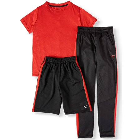 Cheetah 3 Piece Active Set - Tapered Mesh Pant, Mesh Stripe Short, Jersey Short Sleeve Shirt (Big Boys)