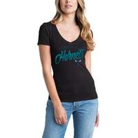 Charlotte Hornets 5th & Ocean by New Era Women's V-Neck T-Shirt - Black
