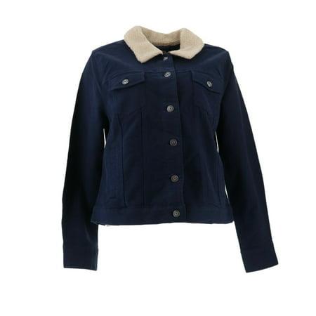 Isaac Mizrahi Moleskin Jacket Faux Shearling A269499