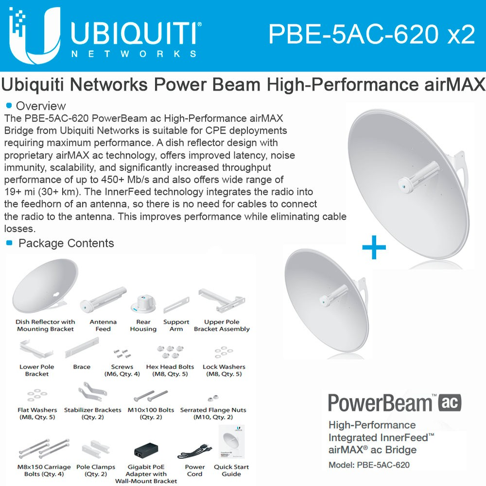 Ubiquiti PBE-5AC-620 2-PACK PowerBeam AC 5GHz 29dBi 620mm 450+Mbps 30+km airMAX