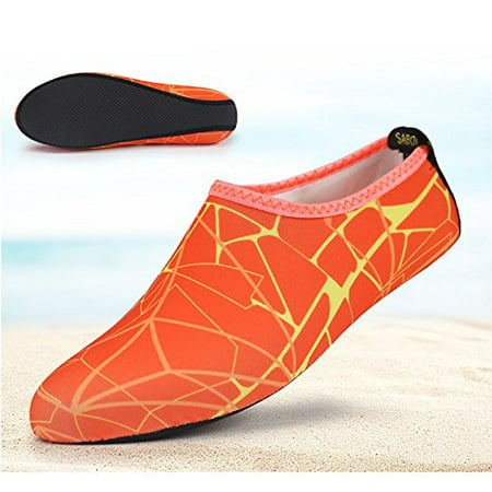 Barefoot Water Skin Shoes  Epicgadget Tm  Quick Dry Flexible Water Skin Shoes Aqua Socks For Beach  Swim  Diving  Snorkeling  Running  Surfing And Yoga Exercise  Orange Yellow  M  Us 5 6 Eur 36 37