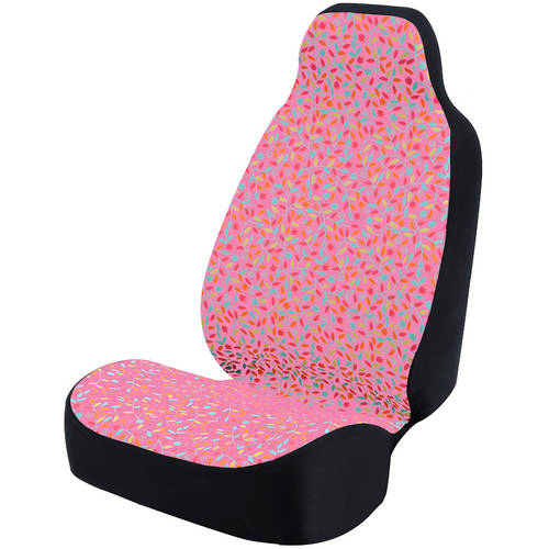 Coverking Universal Seat Cover Fashion Print, Ultra Suede, Vivid Flowers Pink and Blue and Pink Background with Black Interlock Backing