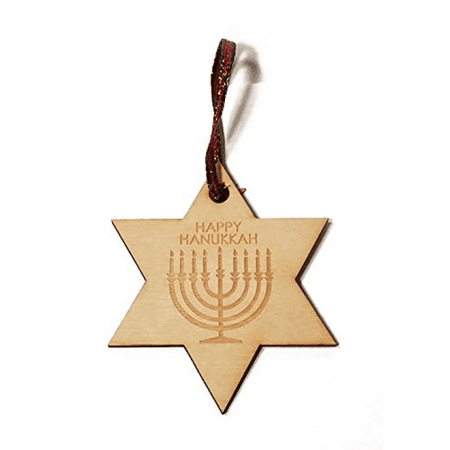 Happy Hanukkah Menorah Laser Engraved Wooden Christmas Tree Ornament Gift Seasonal Decoration - Hanukkah Ornaments