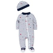 Boys Sports Snap Front Footie Pajamas with Hat Sleep N Play One Piece Romper Coverall Cotton Infant Footed Sleeper; Pijamas Para Bebes- White and Navy Blue Striped- Newborn