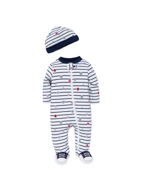 74c89c9245 Product Image Boys Sports Snap Front Footie Pajamas with Hat Sleep N Play  One Piece Romper Coverall Cotton