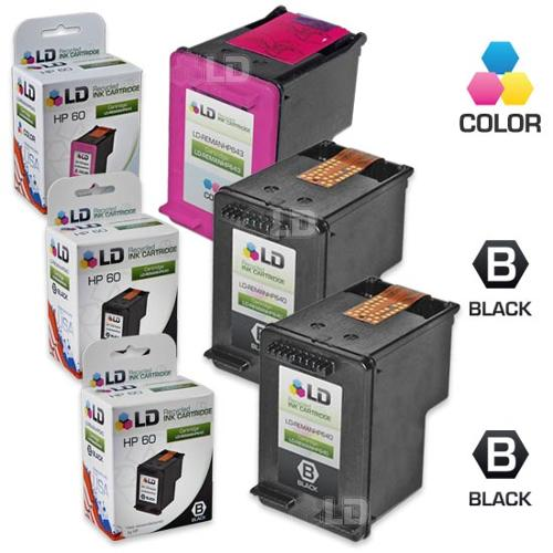 LD Remanufactured Ink Cartridge Replacements for HP CC640WN (HP 60) Black and HP CC643WN (HP 60) Color (2 Black and 1