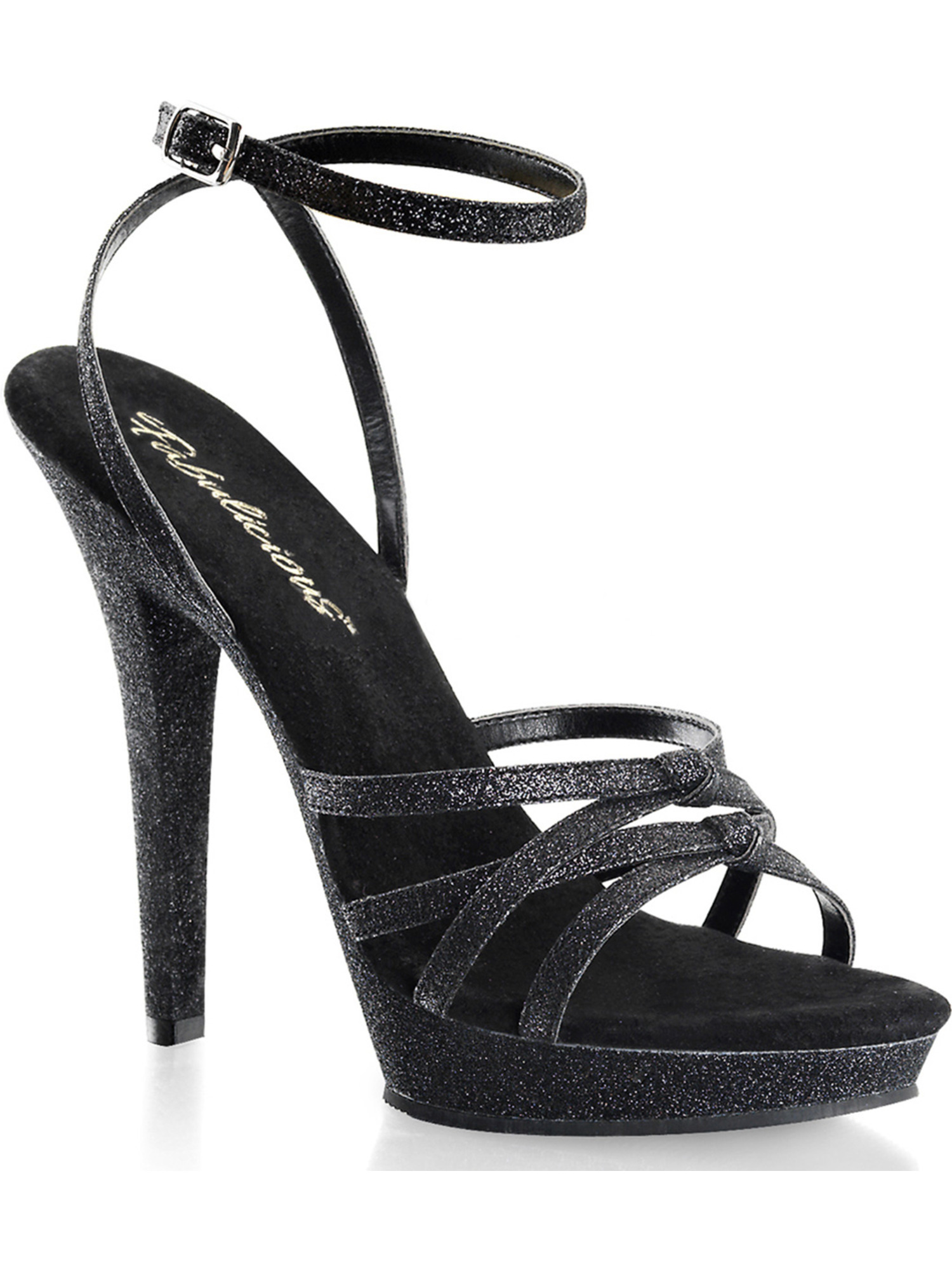 Womens Black Glitter Strappy Sandals Shoes with 5 Inch ...