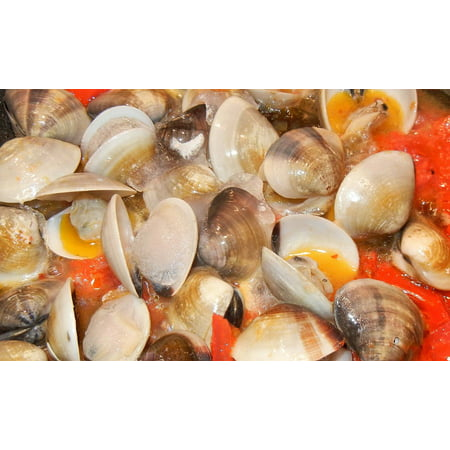 Framed Art for Your Wall Garlic Clams Tomatoes Olive Oil Food 10x13