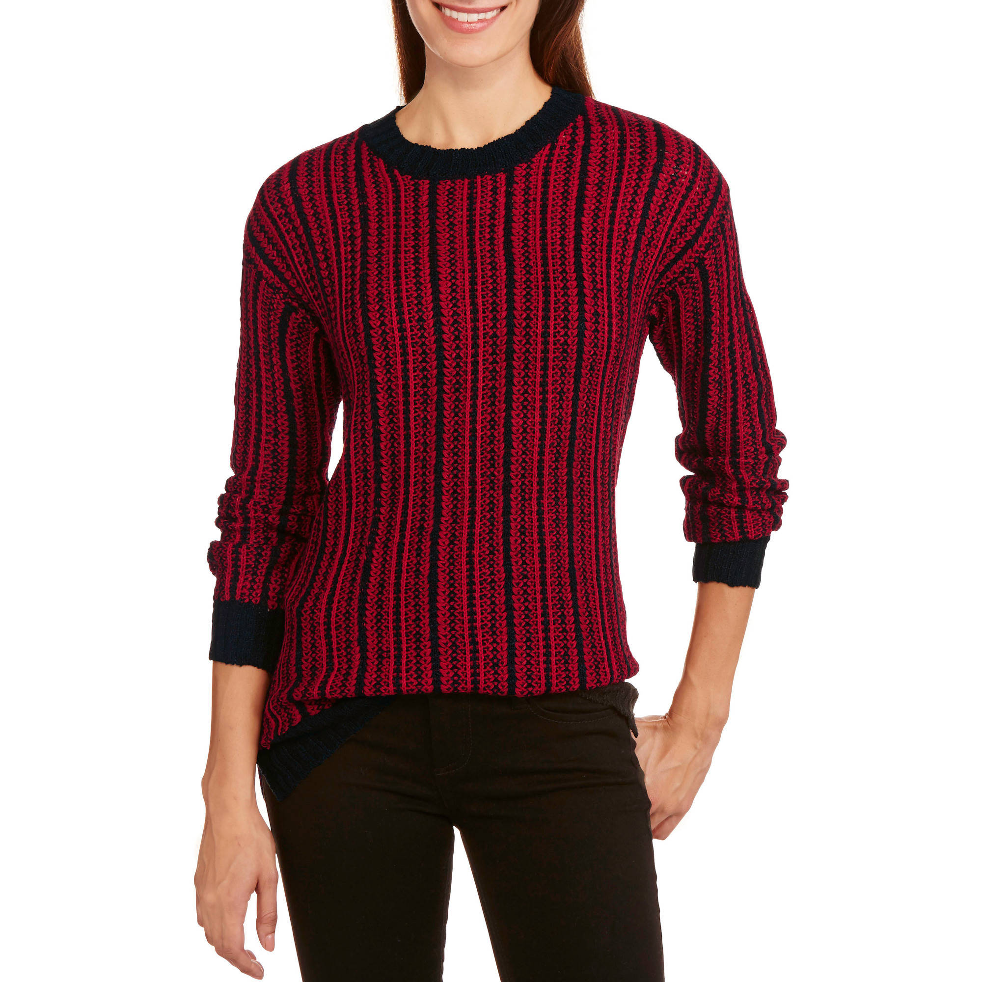 Allison Brittney Women's Novelty Stitch Hi-Low Sweater