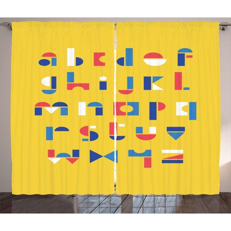 Alphabet Curtains 2 Panels Set Colored Geometric Small Letters Kids School Elementary Abc Nursery Window D For Living Room Bedroom 108w X 63l