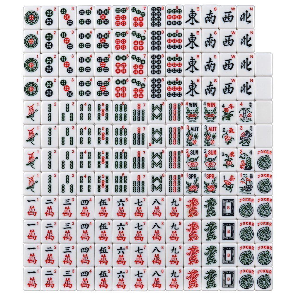 166 Tiles American Mahjong Set Blue Phoenix Soft Bag 4 Color Pushers Racks Easy Carry Western Mahjongg