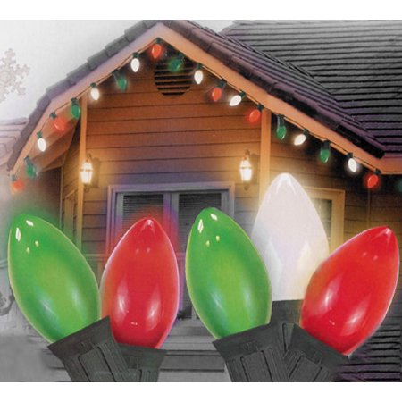 Set fo 25 Opaque Red, Clear White and Green C7 Christmas Lights - 24 ft Green