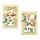 Birds & Blooms Spring Theme Metal Wall Art Set - For Bedroom, Bath