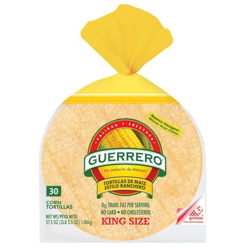 "Guerrero Corn King Size De Maiz Estilo Ranchero 6"" Tortillas, 30 ct"