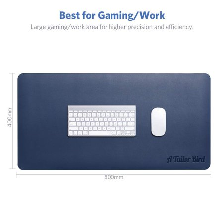 ATAILORBIRD Extended Mouse Pad E-Sports Gaming Mouse Mat- 800 x 400 x 2mm Dimension PU Leather Blotter Dual Sided Non-slip Water Resistant for Computer Laptop
