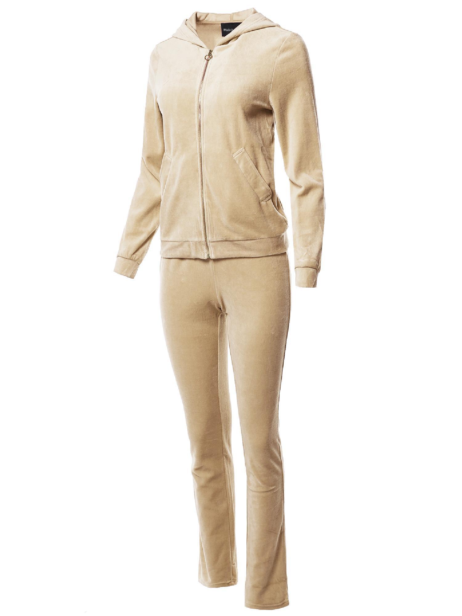 FashionOutfit Women's Solid Soft Velvet Zip-Up Hoodie Workout Sweatpants Set